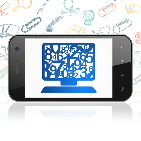 computer education: Education concept: Smartphone with  blue Computer Pc icon on display,  Hand Drawn Education Icons background