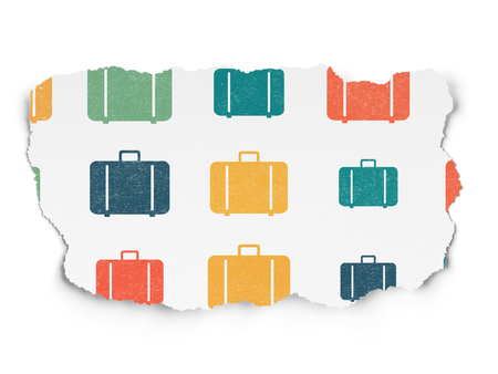 piece of luggage: Travel concept: Painted multicolor Bag icons on Torn Paper background