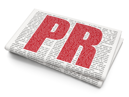 articles: Advertising concept: Pixelated red text PR on Newspaper background