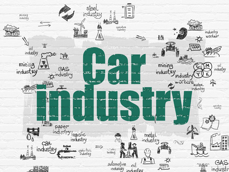 industry: Industry concept: Painted green text Car Industry on White Brick wall background with Scheme Of Hand Drawn Industry Icons