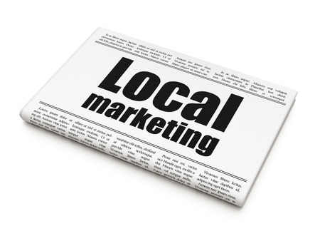 Advertising concept: newspaper headline Local Marketing on White background, 3d render Stock Photo - 50907961