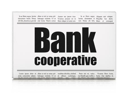 cooperativismo: Concepto de dinero: titular de prensa Banco Cooperativo sobre fondo blanco, 3d