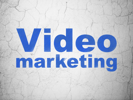 video wall: Business concept: Blue Video Marketing on textured concrete wall background
