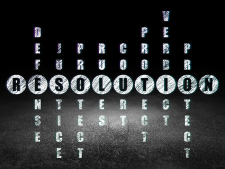 Law concept: Glowing word Resolution in solving Crossword Puzzle in grunge dark room with Dirty Floor, black background