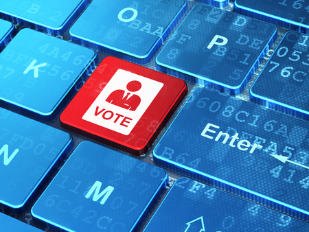 Politics concept: computer keyboard with Ballot icon on enter button background, 3d render