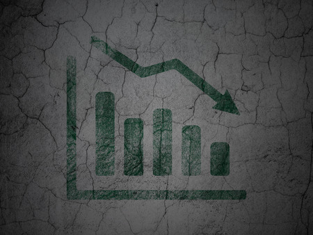 going green: Business concept: Green Decline Graph on grunge textured concrete wall background