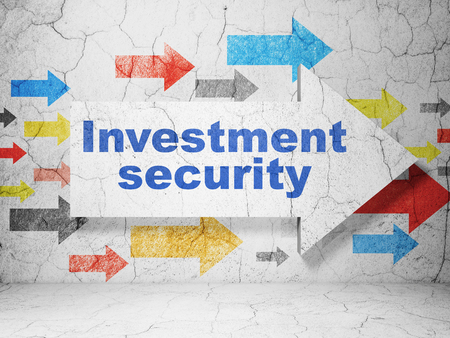 investment security: Security concept:  arrow with Investment Security on grunge textured concrete wall background Stock Photo