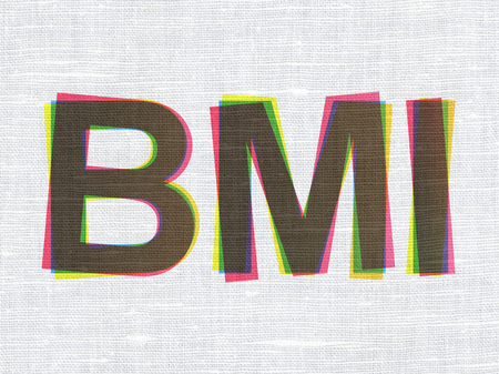 bmi: Healthcare concept: CMYK BMI on linen fabric texture background Stock Photo