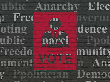 dictatorship: Politics concept: Painted red Ballot icon on Black Brick wall background with  Tag Cloud