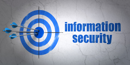success security: Success security concept: arrows hitting the center of target, Blue Information Security on wall background