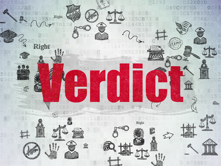 court process: Law concept: Painted red text Verdict on Digital Paper background with Scheme Of Hand Drawn Law Icons Stock Photo