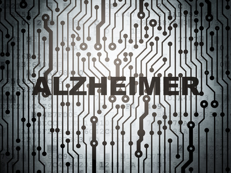 alzheimer: Health concept: circuit board with  word Alzheimer, 3d render