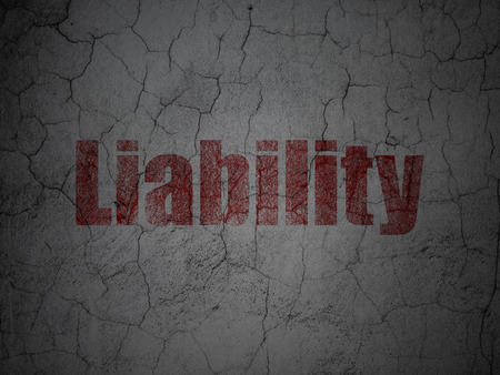 liability: Insurance concept: Red Liability on grunge textured concrete wall background Stock Photo