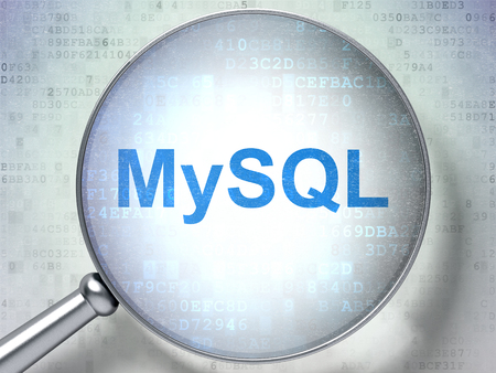 mysql: Software concept: magnifying optical glass with words MySQL on digital background Stock Photo