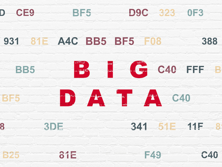 hexadecimal: Information concept: Painted red text Big Data on White Brick wall background with Hexadecimal Code