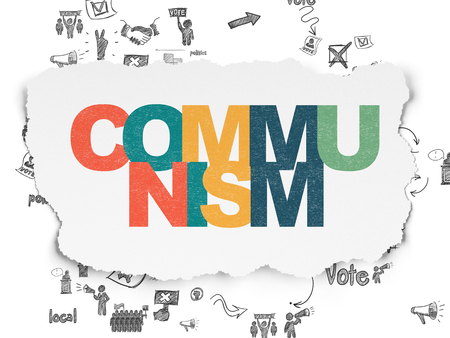 communism: Political concept: Painted multicolor text Communism on Torn Paper background with Scheme Of Hand Drawn Politics Icons Stock Photo