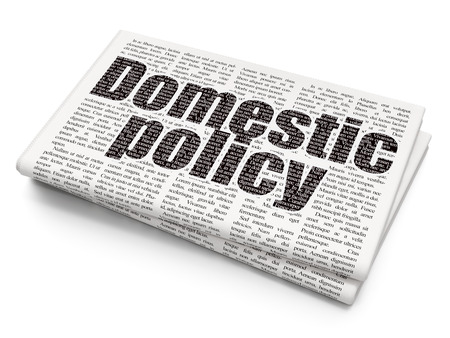 domestic policy: Politics concept: Pixelated black text Domestic Policy on Newspaper background