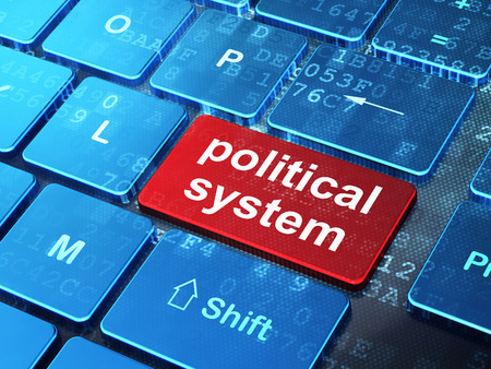 political system: Political concept: computer keyboard with word Political System on enter button background, 3d render