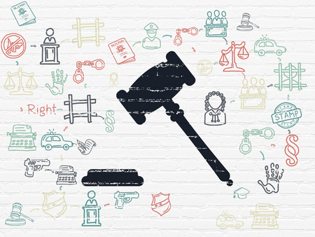 court process: Law concept: Painted black Gavel icon on White Brick wall background with Scheme Of Hand Drawn Law Icons