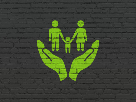 black family: Insurance concept: Painted green Family And Palm icon on Black Brick wall background