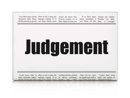 newspaper headline: Law concept: newspaper headline Judgement on White background, 3d render Stock Photo