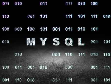 mysql: Database concept: Glowing text MySQL in grunge dark room with Dirty Floor, black background with Binary Code
