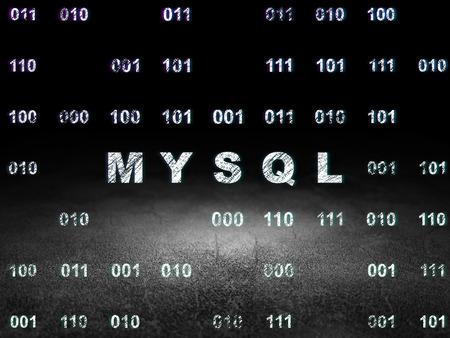 Database Concept: Glowing Text MySQL In Grunge Dark Room With Dirty Floor,  Black Background