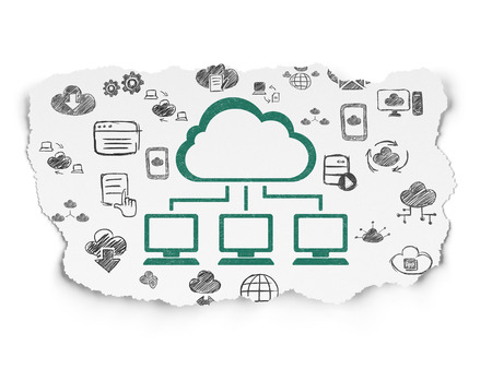 green computing: Cloud computing concept: Painted green Cloud Network icon on Torn Paper background with  Hand Drawn Cloud Technology Icons