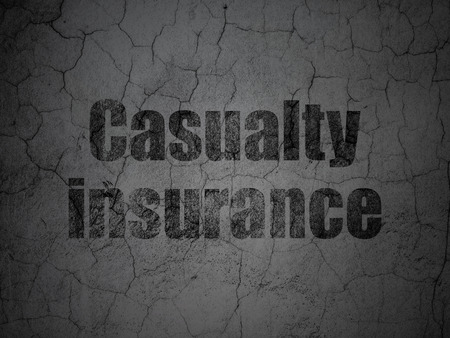 casualty: Insurance concept: Black Casualty Insurance on grunge textured concrete wall background