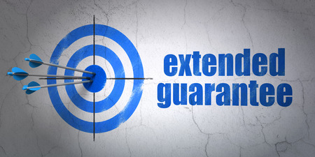 hitting a wall: Success Insurance concept: arrows hitting the center of target, Blue Extended Guarantee on wall background Stock Photo
