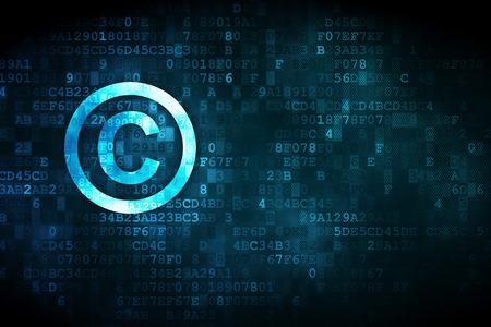 Law concept: korrelig Copyright pictogram op digitale achtergrond, lege copyspace voor kaart, tekst, reclame