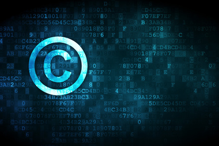 data protection act: Law concept: pixelated Copyright icon on digital background, empty copyspace for card, text, advertising
