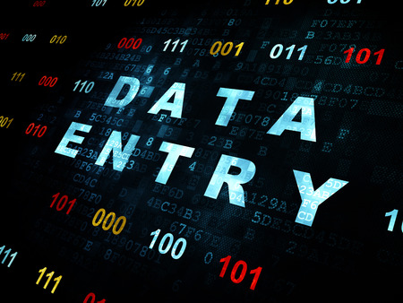 data entry: Information concept: Pixelated blue text Data Entry on Digital wall background with Binary Code Stock Photo
