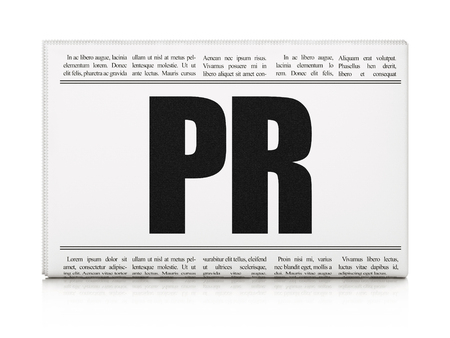 pr: Marketing concept: newspaper headline PR on White background, 3d render