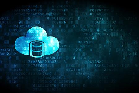 computer center: concepto de programación: Base de datos pixelada Con el icono de la nube en el fondo digital, copyspace vacío para la tarjeta, el texto, la publicidad