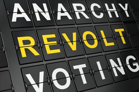 revolt: Political concept: Revolt on airport board background, 3d render