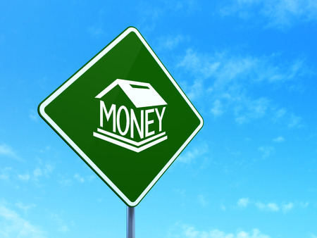 way bill: Banking concept: Money Box on green road highway sign, clear blue sky background, 3d render