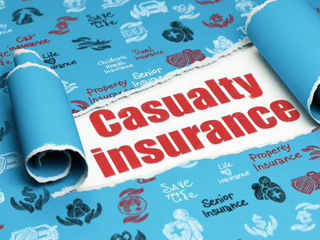 casualty: Insurance concept: red text Casualty Insurance under the curled piece of Blue torn paper with  Hand Drawn Insurance Icons Stock Photo