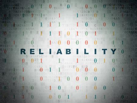 Business-Konzept: Blau bemalt Text Zuverlässigkeit auf Digital-Papier Hintergrund mit Binärcode
