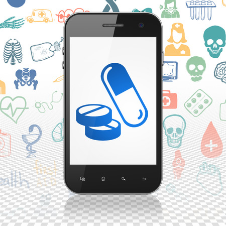 healing touch: Health concept: Smartphone with  blue Pills icon on display,  Hand Drawn Medicine Icons background