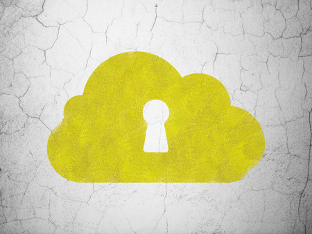 wall cloud: Cloud computing concept: Yellow Cloud With Keyhole on textured concrete wall background