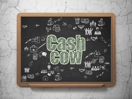 cash cow: Finance concept: Chalk Green text Cash Cow on School Board background with Scheme Of Hand Drawn Business Icons Stock Photo