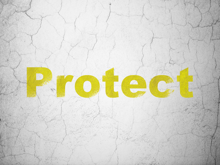 Safety concept: Yellow Protect on textured concrete wall background