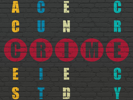 crime solving: Privacy concept: Painted red word Crime in solving Crossword Puzzle