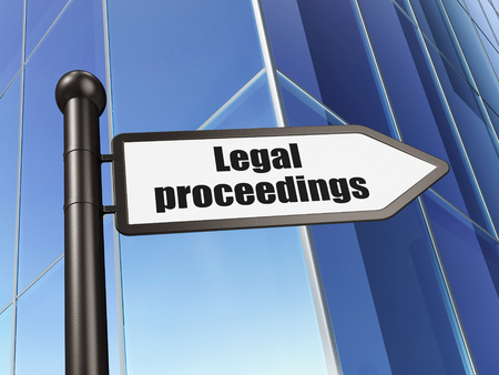 proceedings: Law concept: sign Legal Proceedings on Building background, 3d render
