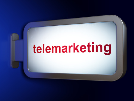 telemarketing: Advertising concept: Telemarketing on advertising billboard background, 3d render Stock Photo