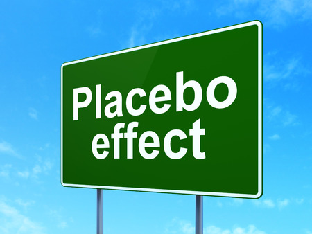 placebo: Health concept: Placebo Effect on green road highway sign, clear blue sky background, 3d render