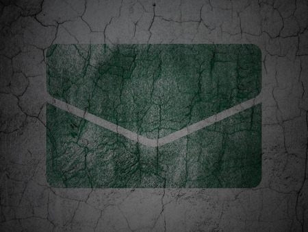 grungy email: Finance concept: Green Email on grunge textured concrete wall background Stock Photo
