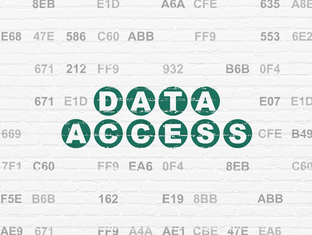 hexadecimal: Data concept: Painted green text Data Access on White Brick wall background with Hexadecimal Code