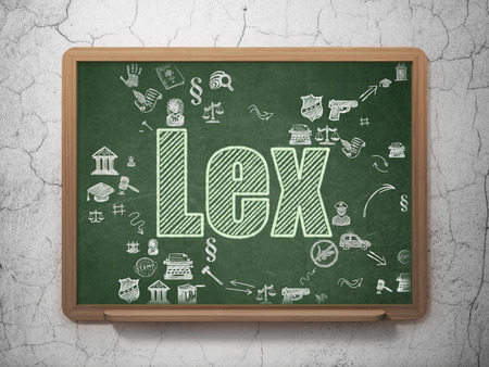 lex: Law concept: Chalk Green text Lex on School Board background with Scheme Of Hand Drawn Law Icons